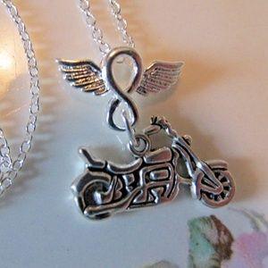 Harley Girl Infinity Motorcycle Charm Necklace